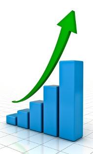 зеленая стрелка вверх над диаграммой роста