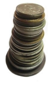 столбик из российских монет