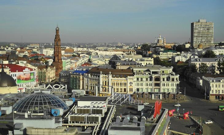 вид на Казань панорама с высоты в солнечный день