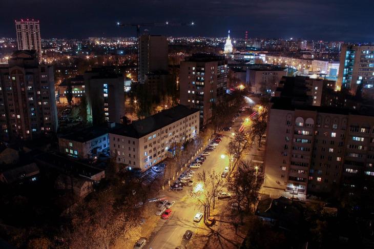 вид на ночной Воронеж